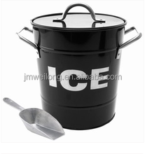 Hot Sale T586 Green 4L Metal Double Walled Ice Bucket With Lid And Scoop