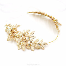2016 New Fashion Tiara Gold Plated Leaves Hairbands Korean Summer Style Wedding Hair Accessories Bridal Alloy Jewelry For Women
