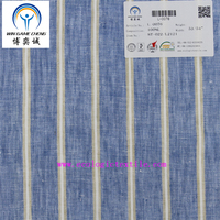 Newly 21*21 pure linen blue/white/gold stripe fabric suitable for garment hometextile