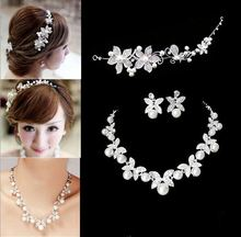 2014 Fashion Design Flower Pearl Bride 3pcs Set Necklace Earrings Tiara Bridal Wedding Jewelry Set Accessories For Women