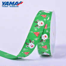 Green color 3 inch elk printing christmas grosgrain ribbon for gift packaging