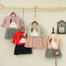 JL17058 2017 Latest Kid Clothing Spring Cute Rabbit Tutu skirt Hoody Top Girls Dress set