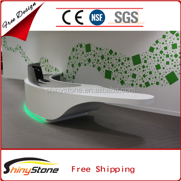 Elegant curved shape acrylic solid surface maple reception desk