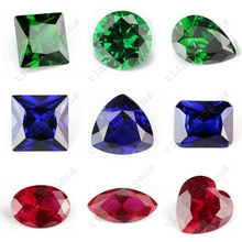 Machine cut 5A quality varioius shape synthetic ruby or sapphire or emerald gemstone