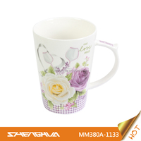 New Amazing Design 380ml New Bone China Custom Coffee Mugs with Floral, Flower Design