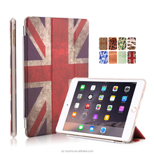 Best Selling Luxury Ultra Slim Stand Smart Sleep and Wake Up PU Leopard Camouflage Wood UK Flag Design Cover Case for iPad Air 2