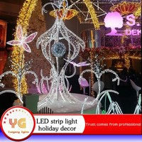 Shopping mall outdoor light decoration led strips wire frame christmas light motif