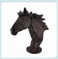 Antique bronze sculpted wild horse head sculpture