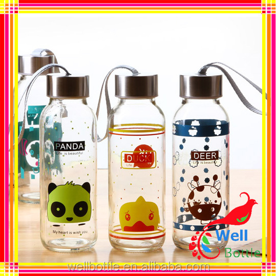 All kinds of 500ml glass water bottle empty water bottle for hot water with metal lid