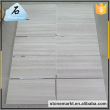 Interior wall decoration polished white grain wood look marble floor tile