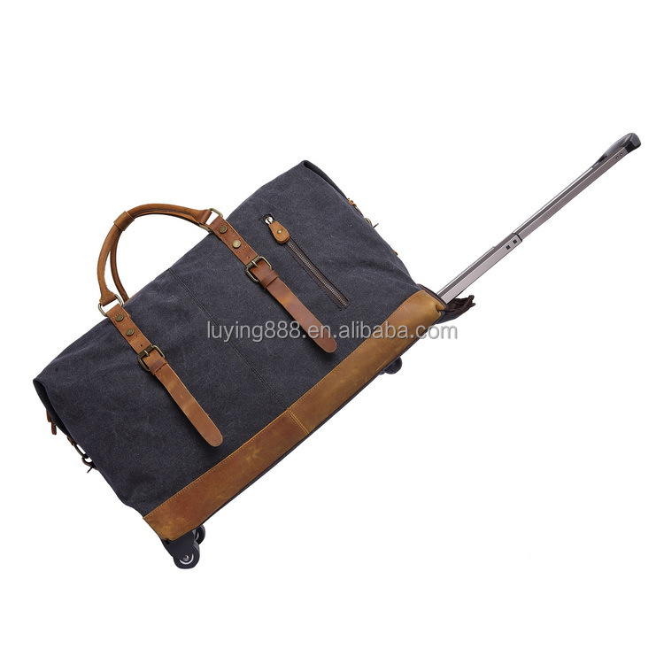 Wholesale Vintage canvas american multipurpose gym sport car travel luggage duffle trolley bag