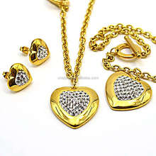 imitation jewelry bracelet&necklace&earring heart shaped pave crystal gold plated zircon 4 jewelry sets RS53