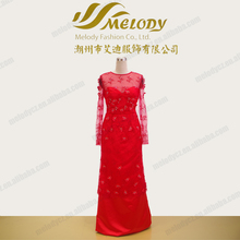 R140323AJ red lace appliqued illusion sequin flower long sleeveless sheath-colum evening dress