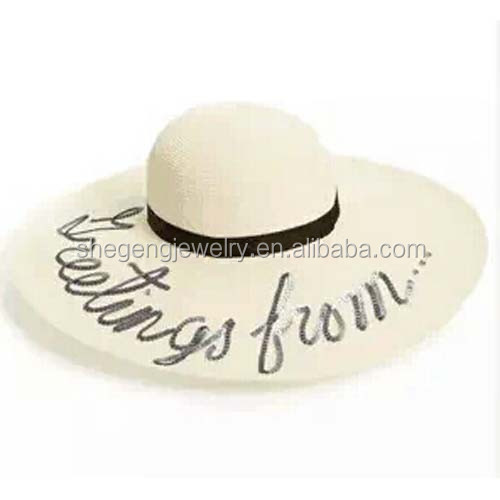 """Wish you were here"" wide brim straw floppy sun hat"