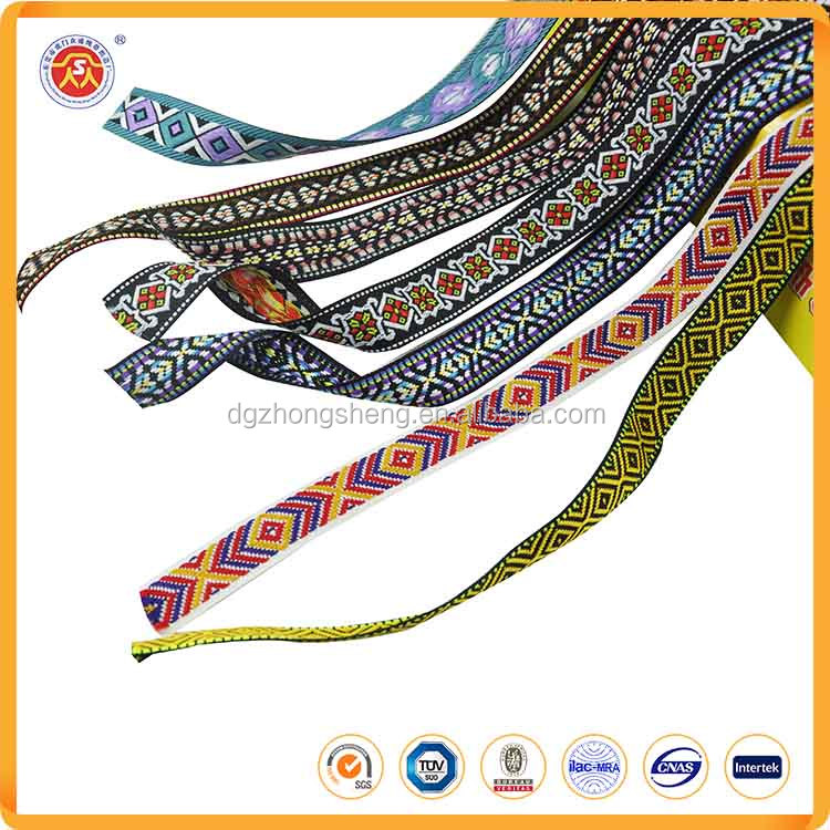 Wholesale garment accessories cotton jacquard ribbon Embroidered webbing embroidered trims