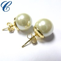 2016 Most Popular Round Gold Pearl Stud Earrings