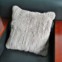 YR597 Fashion 45*45cm Natural Color Thick Knit Rabbit Fur Cushion Cover