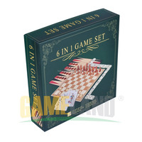 6 in 1 Board Game Set: Chess, Checkers, Backgammon, Dominoes, Cards, Dice