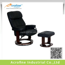 Contemporary style pu leather recliner chair with footstool