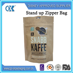 Plastic food packaging metalized zipper pouch for cereal coffee stand up pouch