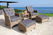 5 piece elegant single sitting outdoor recliner sofa furniture PE rattan plastic sun lounger