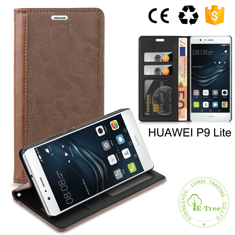 PC Phone Holder Leather Card Slots Wallet Case For HUAWEI P9 Lite Smartphone
