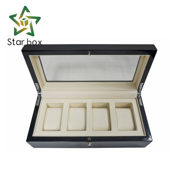 HW27 box 4 pcs watch display wooden box, watch packaging box with 4 slot