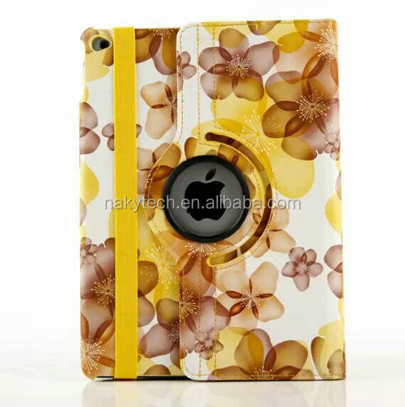 Modern Style Flower Design Magnetic 360 Rotating Flip Stand PU Leather Case for iPad Air 2, for iPad 6