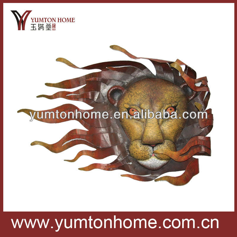 Metal lion head wall art sculpture