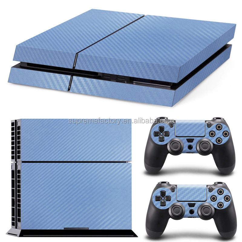 Aqua Carbon Fiber Pattern Vinyl Skin Sticker Decals for PS4 Console & Controller
