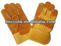 Supplying Yellow Glues and Leather Full Palm Working Glove