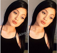 natural hair black wig for black women long silky straight wig synthetic lace front wig heat resistant