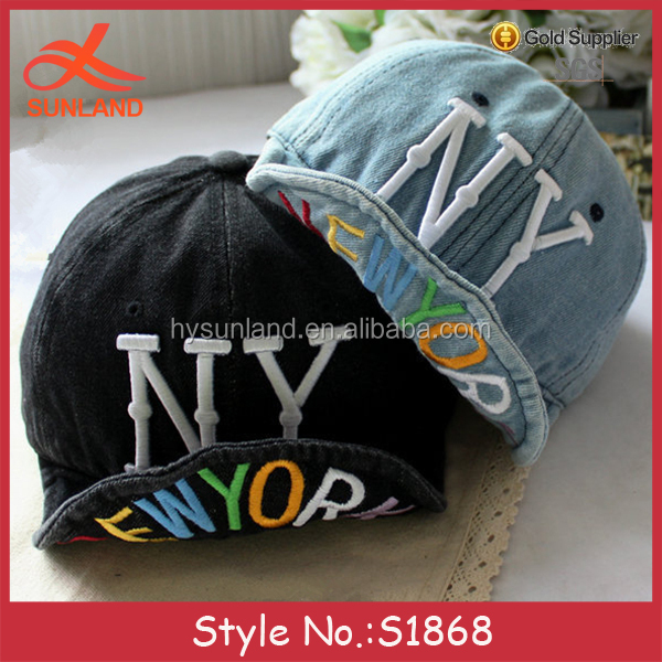 S1868 new denim 3d acrylic letters embroidery for snapback hats denim cowboy hats for sale