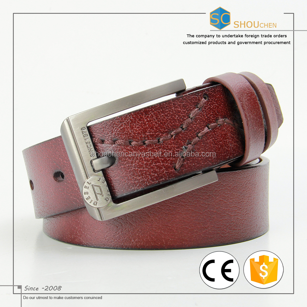 High Quality Fashion Brown Formal Dress PU Bonded Leather Belt for Men