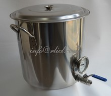 Polished Stainless Steel Brew Kettle,Stock Pot, Homebrew, With thermometer, Valve and all necessory fittings