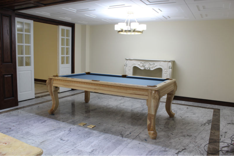 French style antique solid round wood convertible dining pool table