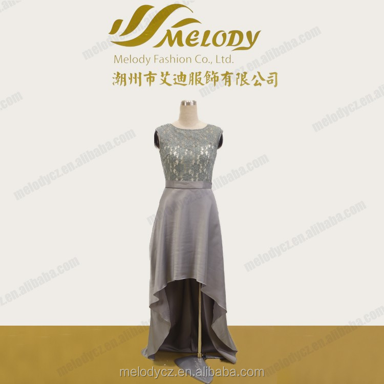 Sleeveless satin and lace material mermaid length bridesmaid grey color evening dress
