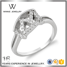 M or W 925 Sterling silver ring with letter design-RC0814302557