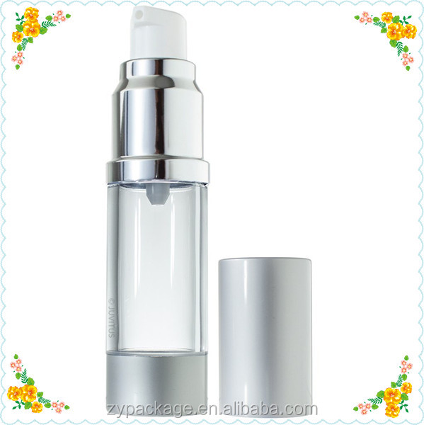 Silver Airless Pump Bottle 30ml Refillable Foundation Container - Lotions and Gels Dispenser