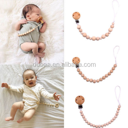 Infant Pacifier Clip Holder for Unisex Baby with Wooden Teething Beads Nipple Strap Chain Teether Toys Gift for Baby Boy Girls