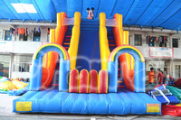 Giant Inflatable Dual Lane Dry Jumping Slide with Arch for Sale