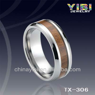 beautiful adjustable fashion rings ring 2 fingers 2013 Hot Design Wood Tungsten Ring