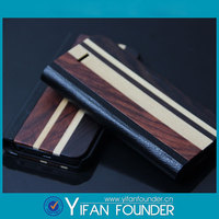 Wood grain wallet flip leather case for samsung s5