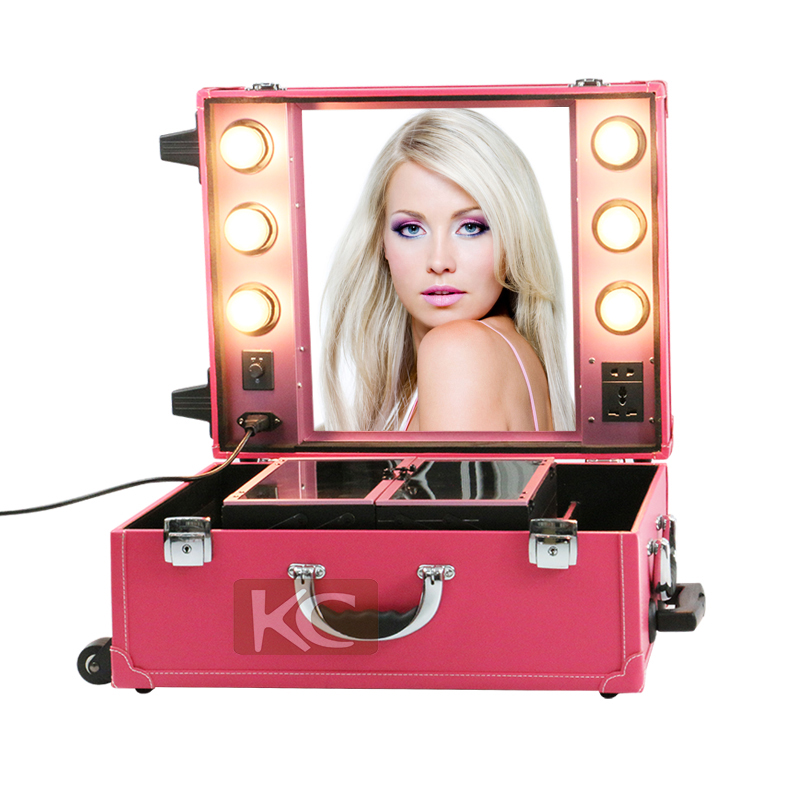 Professional Makeup Trolley Case With Lights Makeup Box