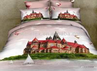 cotton beautiful city bed sheet designs, 3d duvet cover set factory