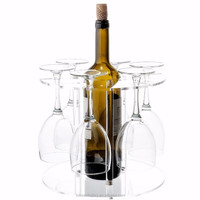 Clear wine cup display rack, wine bottle display stand acrylic PMMA