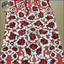 Wholesale spangle sequin flower embroidered fabric