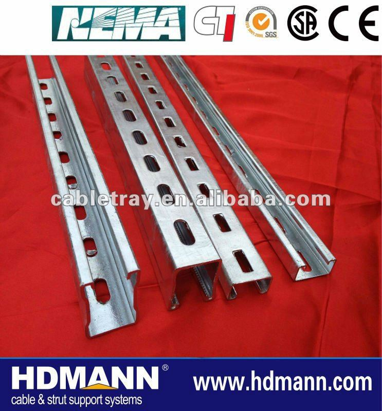 China Manufacture Pre galvanised/Hot dipped galvanised single strut channel(OEM Supplier)