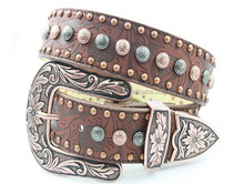 Ever Classic Western Leather Belt With Western Concho Fancy Waist Belt