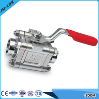 2 inch stainless steel 3pc thread ball valves dn20 316